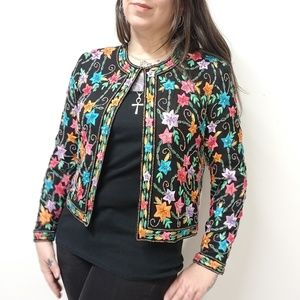 vtg SCALA Embroidered Beaded Silk Formal Jacket